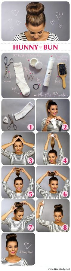 Sock Bun tutorial: This is much simpler than trying to roll the hair down with the sock ring. It works well on medium length layered hair and works on wet hair. I skip step 1 though and just pull all my hair through the sock ring, then add the hair elasti Easy Hairstyles For Long Hair, Up Hairstyles, Pretty Hairstyles, Wedding Hairstyles, Classy Hairstyles, Amazing Hairstyles, Newest Hairstyles, Hairdos, Easy Professional Hairstyles