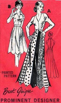Prominent Designer A955 Body Hugging Top & Gypsy Skirt 1975  - Designer Bert Geiger