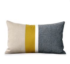 Items similar to Orange & Gray Chambray Striped Colorblock Pillow Cover Set of 3 - Modern Home Decor by JillianReneDecor on Etsy Mustard Bedding, Yellow Bedding, Yellow Pillows, Linen Bedding, Bed Linens, Bedding Sets, Yellow Sofa, Mellow Yellow, Mustard Yellow