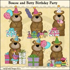 Boscoe and Betty Birthday Party 1 - Clip Art by Cheryl Seslar