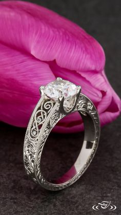 Celtic Inspired Filigree Engagement Ring.Green Lake Jewelry