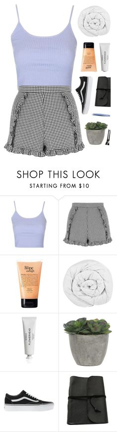 """haven't made a set like this in ages - read the description"" by sewing-girl ❤ liked on Polyvore featuring Topshop, philosophy, The Fine Bedding Company, Byredo, Lux-Art Silks, Vans and Tweezerman"