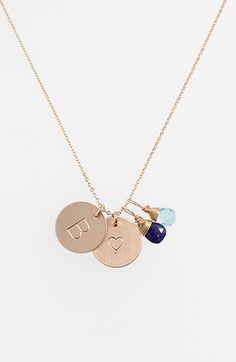 Women's Nashelle Blue Quartz Initial & Heart 14K Gold Fill Disc Necklace by Nashelle