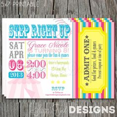Carnival, Circus Birthday Party Invitation, Vintage Carnival Theme Party Invite, Pink and Turquoise - 5x7 PRINTABLE via Etsy