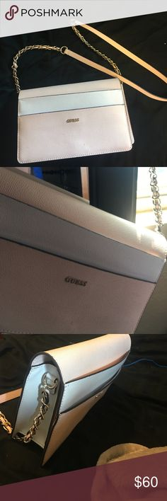 Guess white and baby pink purse Baby pink and white guess purse with black outline Guess Bags Shoulder Bags
