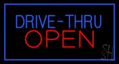 Blue Drive-Thru Red Open Animated Neon Sign 20 Tall x 37 Wide x 3 Deep, is 100% Handcrafted with Real Glass Tube Neon Sign. !!! Made in USA !!!  Colors on the sign are Blue and Red. Blue Drive-Thru Red Open Animated Neon Sign is high impact, eye catching, real glass tube neon sign. This characteristic glow can attract customers like nothing else, virtually burning your identity into the minds of potential and future customers.