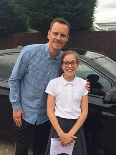 """""""My eldest daughter just met Michael Fassbender at a local shoot.  A complete gent.  In G's words: """"nice cologne & hot!) - @leahlambros"""