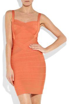 Hervé Léger signature sunset-orange bandage dress