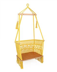 Hammock Chair by Veronica Colindres. I have a tree in my backyard that's begging for this hammock chair. It's pretty enough to bring indoors! Hammock Chair, Hanging Chair, Wedding Chairs, Mellow Yellow, My Dream Home, Decoration, Sweet Home, Outdoor Living, Backyard