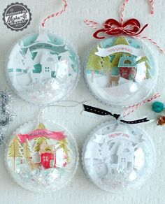 """Handmade Shadowbox Style Ornaments - Made with Papertrey Ink """"Tinsel & Tags"""" Dies and Stamps, Half ball clear ornaments and holographic mica flakes for faux snow. @papertreyink"""