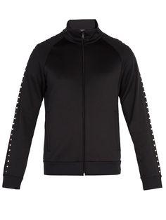 Valentino Rockstud Untitled Jersey Track Jacket In Black Valentino Men, Valentino Rockstud, Black Tops, Track, Slim, Mens Fashion, Sleeves, Jackets, Shopping