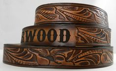 Name Belt. Western carved Includes name in center back, utility buckle & leather keeper Thick Leather, Tan Leather, Fashion Belts, Casual Chic Style, Leather Belts, Leather Accessories, Leather Working, Leather Craft, Belt Buckles