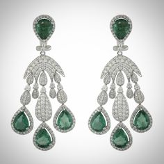 Add a little color to your Monday with these gorgeous diamond and emerald dangle earrings!