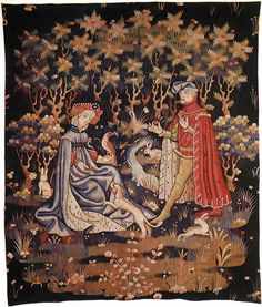 Tapestry by unknown weaver - The Offering of the Heart - WGA24173 - Gothique…