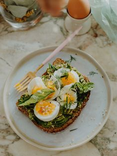 Jammy Egg Avocado Toast with Spring Herbs and Hemp
