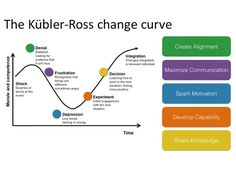 Kubler-Ross Change Curve: the five stages of grief and Lean Change Management. Leadership Development, Professional Development, Self Development, It Management, Business Management, Change Management Models, Change Management Quotes, Change Leadership, Leadership Quotes