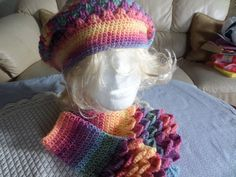 hat and gloves set slouchy hat fingerless by MaddisonsRainbow Pastel Colors, Colours, Fingerless Mittens, Slouchy Hat, Hand Crochet, Handmade Crafts, Women Accessories, Lady, Beautiful Things