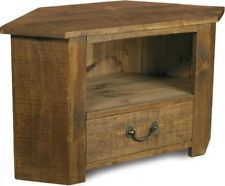 Solid Wooden Corner Tv Cabinet Stand Av Audio Unit Rustic Plank Pine Furniture