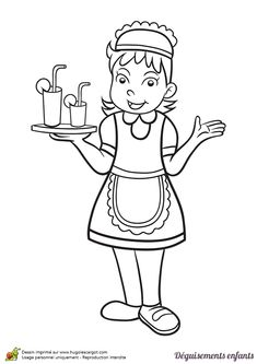 Coloriage et idée de déguisement pour Mardi gras, devenir une serveuse, page 22 sur 24 sur HugoLescargot.com Hand Embroidery, Machine Embroidery, Toddler Learning, Colouring Pages, Preschool Activities, Pencil Drawings, Teaching, Cartoon, Children