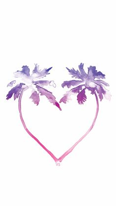 Palm tree Heart ★ Find more watercolor Android + iPhone wallpapers @prettywallpaper