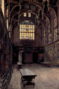THE GREAT HALL, Hampton Court Palace, image from 'Hampton Court', by Walter Jerrold, published in 1912