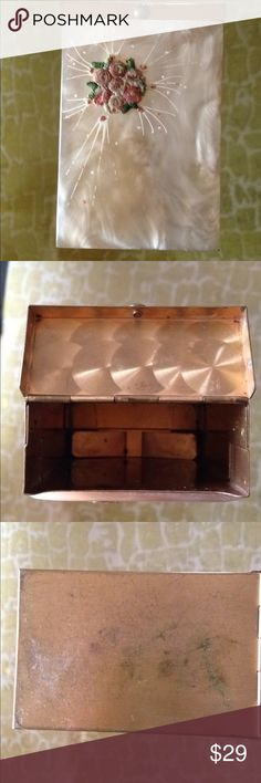 """Grandmother's vintage cigarette case. The top appears to be Mother of Pearl inlay, but I can't be certain. Some oxidation has occurred on sides due to age. Clasp works well, and the front is just beautiful. Measures approx. 3""""x2"""" 3.25"""". Use for cash, credit card, ID, or whatever. So classy....just like Grandmother! Accessories Key & Card Holders"""