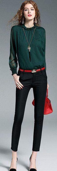 Dark Green High Neck Sheer Sleeves Blouse