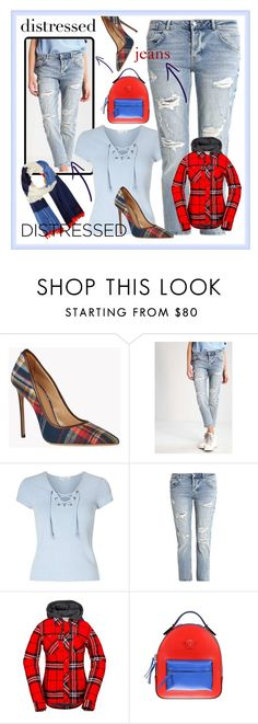 """""""Distressed jeans"""" by amisha73 ❤ liked on Polyvore featuring Dsquared2, GUESS, Miss Selfridge, Volcom, Versace and Tory Burch"""