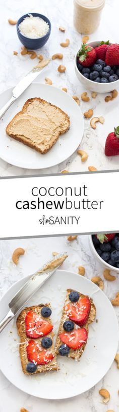 Coconut cashew butter is a delicious nut butter with a tinge of sweetness. Perfect for your healthy snacking with fruits and crackers or as a sandwich! | slimsanity.com