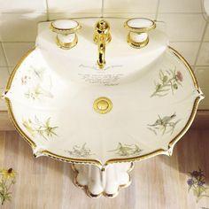 Luxurious Bathroom Sink with Classic Vintage Victorian Style, luxury bathroom sink design, victorian bathroom designs, bathroom sink design, best bathroom design ideas and photos Victorian Shower Curtains, Victorian Style Bathroom, Green Shower Curtains, Vintage Bathroom Sinks, Small Bathroom Sinks, Bathroom Ideas, Green Bathrooms, Vintage Sink, Vintage Type