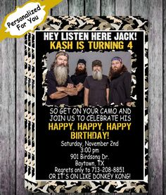 Duck Dynasty Inspired Camo Hunting Birthday Invitation - Personalized For You