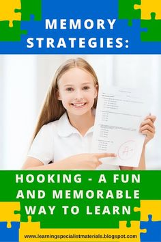 Learning Specialist and Teacher Materials - Good Sensory Learning: Memory Strategy: Hooking's a Fun and Memorable Way to Learn Help Teaching, Teaching Resources, Memory Strategies, Brain Based Learning, Learning Disabilities, Multiple Disabilities, Study Skills, Life Skills, Working Memory