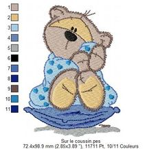 {Bear On a Cushion Snuggling a Blanket- Sur_le_coussin K.H.}  On-coussin.jpg