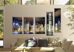 Tablou Hong Kong 6160 Dimensiuni: 3x 30x50 - 2x 20x70 cm Total: 130x80 cm