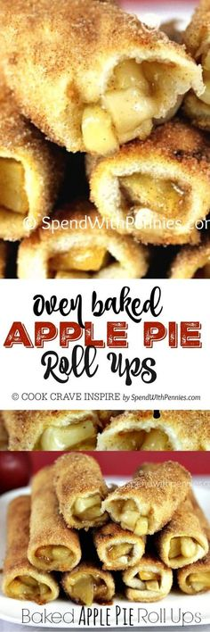 Baked Apple Pie Roll Ups! Easy to make, even easier to eat... Apple pie filling wrapped in a crispy cinnamon sugar shell!