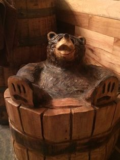 my new country bathroom, I took out a wall between a small bedroom and another bedroom and made my dream bath, chainsaw carving, bear in 1/2 barrel, Bathrooms Design