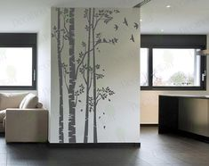 Birch Tree Wall Decal Forest Large Tree Wall by decalyourwall