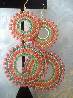 Double Hoop Earrings Aqua Berries II Seedbead Hoop by WorkofHeart