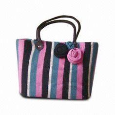 Knit Yarn Shoulder Bag with Stripe Pattern, PVC Handles and Flower Decoration