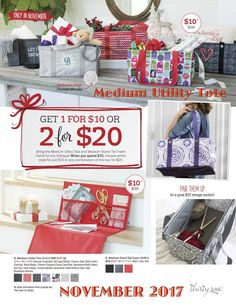MEDUIM UTILITY TOTE - November 2017 - Thirty-One Customer Special - Charcoal Crosshatch, Chevron Dash, Chevron Squares, Geo Pop, Hello Holiday, Frosted Metallic and Woodblock Whimsy. Learn more and join at MyThirtyOne.com/PiaDavis or find your consultant in the upper right hand corner of the website.