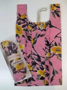 Reusable Grocery Bag w/ Tsubaki Flower Print, frill decoration, belt and button | reusable bag, reusable shopping bag, shopping bag, ecobag