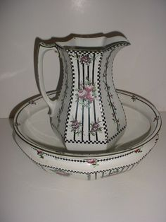 What a sweet bowl  pitcher set. Late 19th century