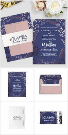I'm *obsessed* with rose gold! And this elegant wedding invitation suite is so pretty! It features a stunning blush pink leafy frame on a dark blue background with a dazzling cursive font. This rose gold and navy wedding collection includes all of the essentials, and more! Invitations, envelopes, stamps, labels, belly bands, five RSVP options, enclosure cards, save the date, thank you cards, and also, all of the paper for your ceremony and reception.