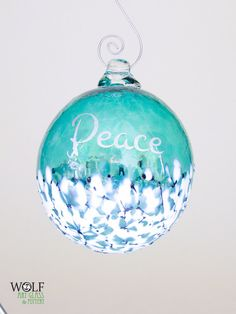Glass Christmas Tree Ornament Silver Peace Etched Ball Deep Teal Blue Green Blossom