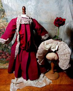 "Divine Antique French Factory doll costume. 1880's.  Fits 24""-26"" dolls.  575.00"