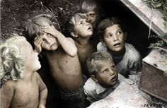 Frightened children found in a shelter in Stalingrad