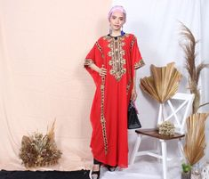 Bridesmaid Dress, Gold Embroidery Kaftan Dress, Wedding Dress For Women, red Kaftan Dress, Kaftan Maxi Dress, Moroccan Kaftan Maxi Dress etsy.com/shop/Yosika #maxidress #caftandress #kaftanforwomen #kaftanplussize #sequindress #maternitydress #resortdress Embroidery Dress, Kimono Top, Sari, Tops, Dresses, Women, Fashion, Saree, Vestidos
