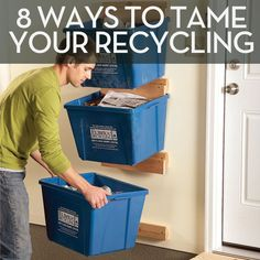 great way to vertically store recycling bins.