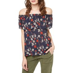 Women's Sanctuary Misha Print Off The Shoulder Top ($79) ❤ liked on Polyvore featuring tops, blouses, evening sun, off-the-shoulder blouses, off shoulder tops, ruffle blouse, evening blouses and flower print blouse