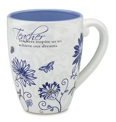 Stunning greenery and scrolling designs make this mug simply lovely, ensuring it's the perfect gift for a special teacher. When the weather's chilly, they'll settle on the couch with this mug filled with white hot chocolate or peach blossom tea. Valentine Gifts, Teacher Gifts, Anatole France, Peach Blossoms, Flower Images, Ceramic Mugs, Ceramic Pottery, A Blessing, Pintura